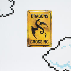 Tin Sign Dragons Crossing