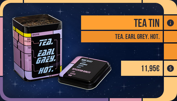 Tea tin: Tea. Earl Grey. Hot.